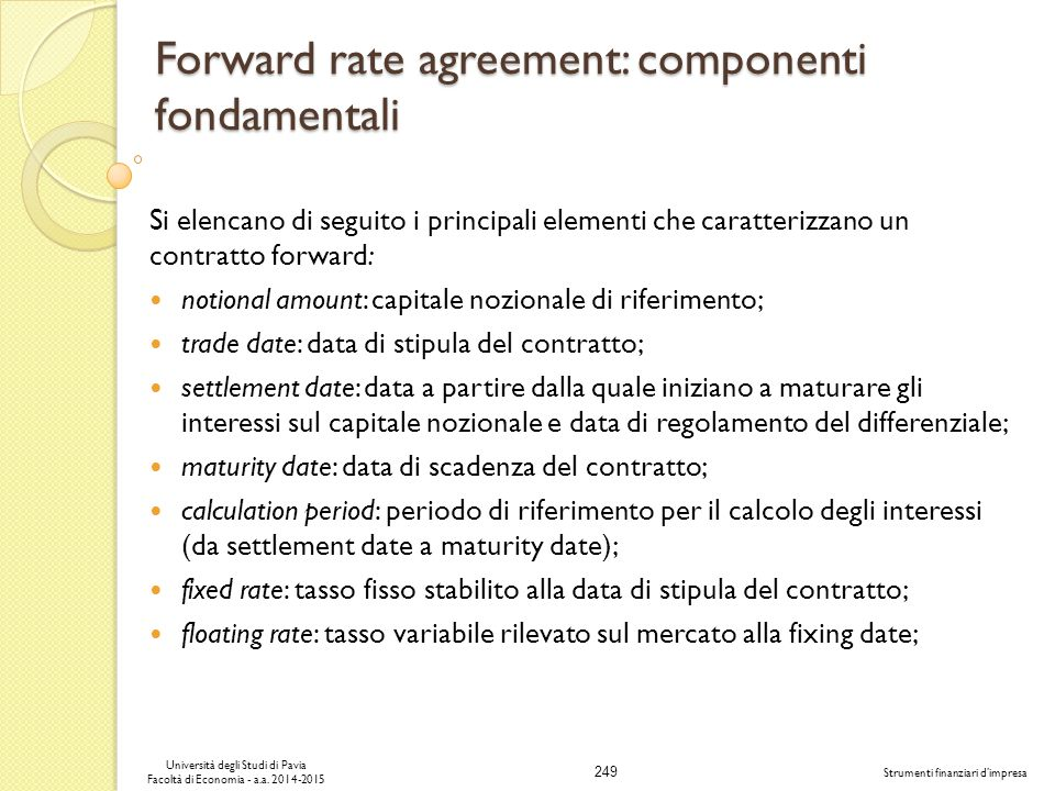 Forward rate agreement: componenti fondamentali