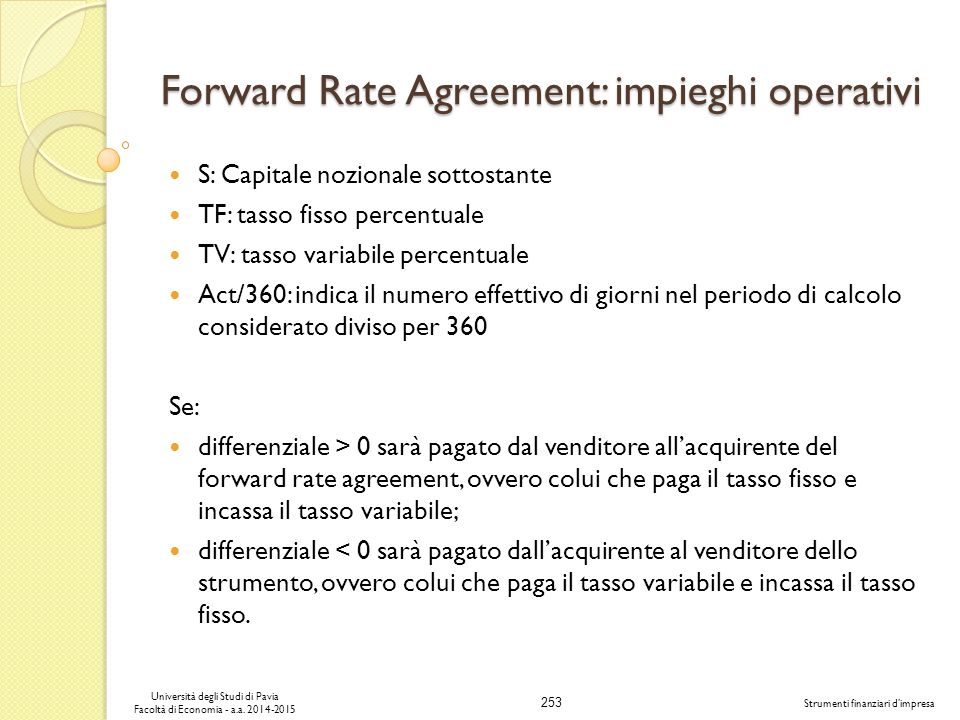 Forward Rate Agreement: impieghi operativi