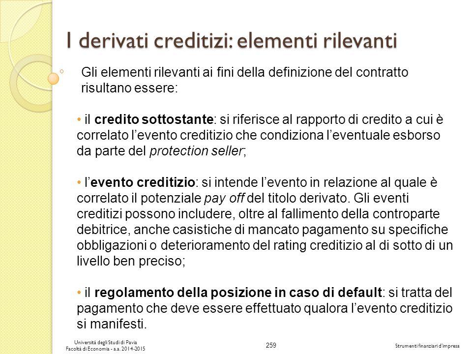 I derivati creditizi: elementi rilevanti