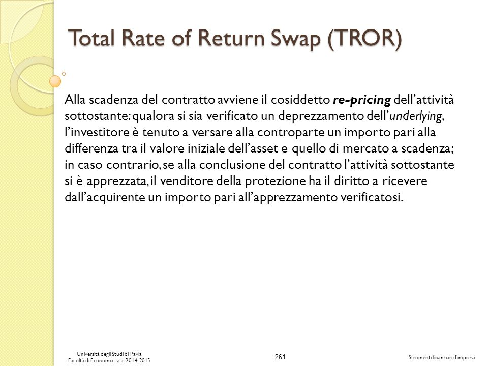 Total Rate of Return Swap (TROR)