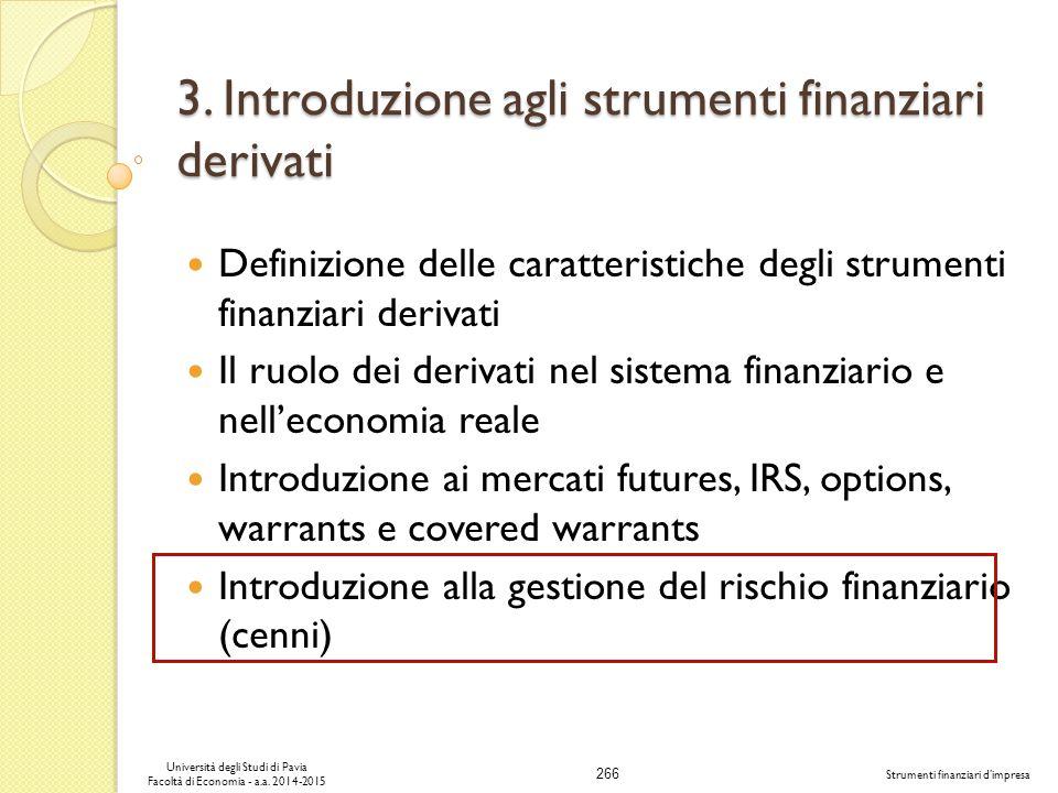 3. Introduzione agli strumenti finanziari derivati