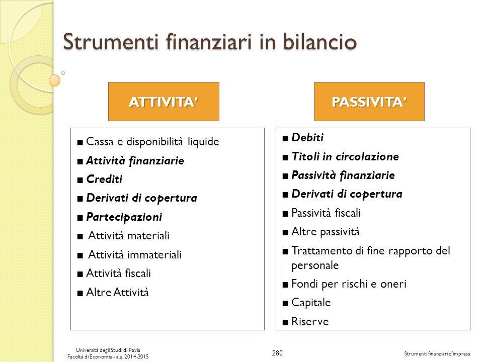 Strumenti finanziari in bilancio