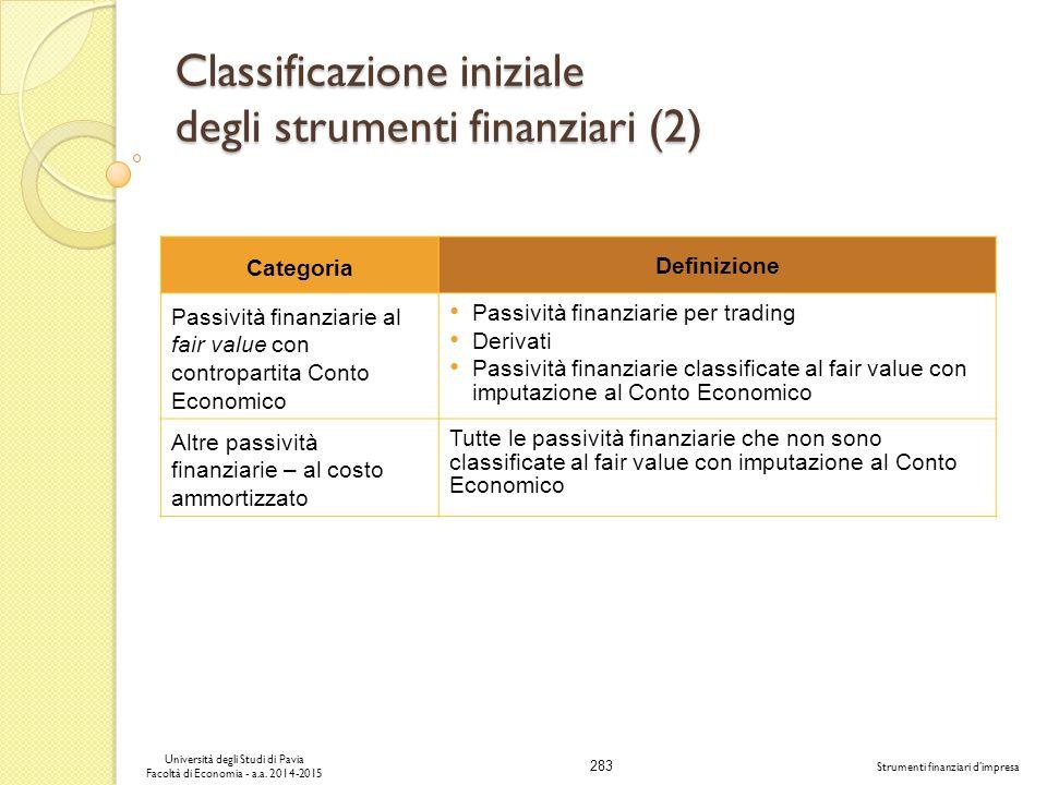 Classificazione iniziale degli strumenti finanziari (2)