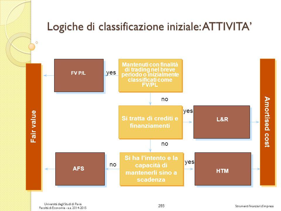 Logiche di classificazione iniziale: ATTIVITA'