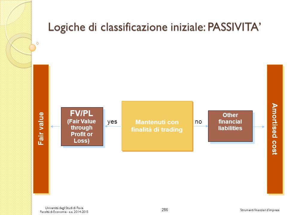 Logiche di classificazione iniziale: PASSIVITA'