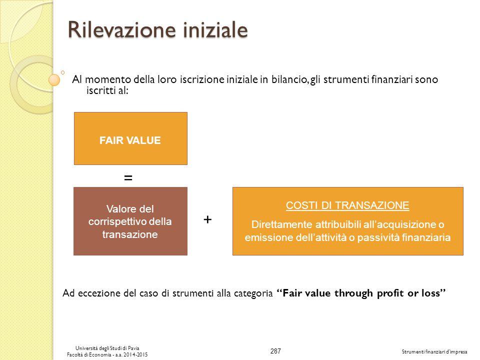 Valore del corrispettivo della transazione