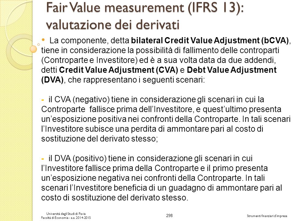 Fair Value measurement (IFRS 13): valutazione dei derivati