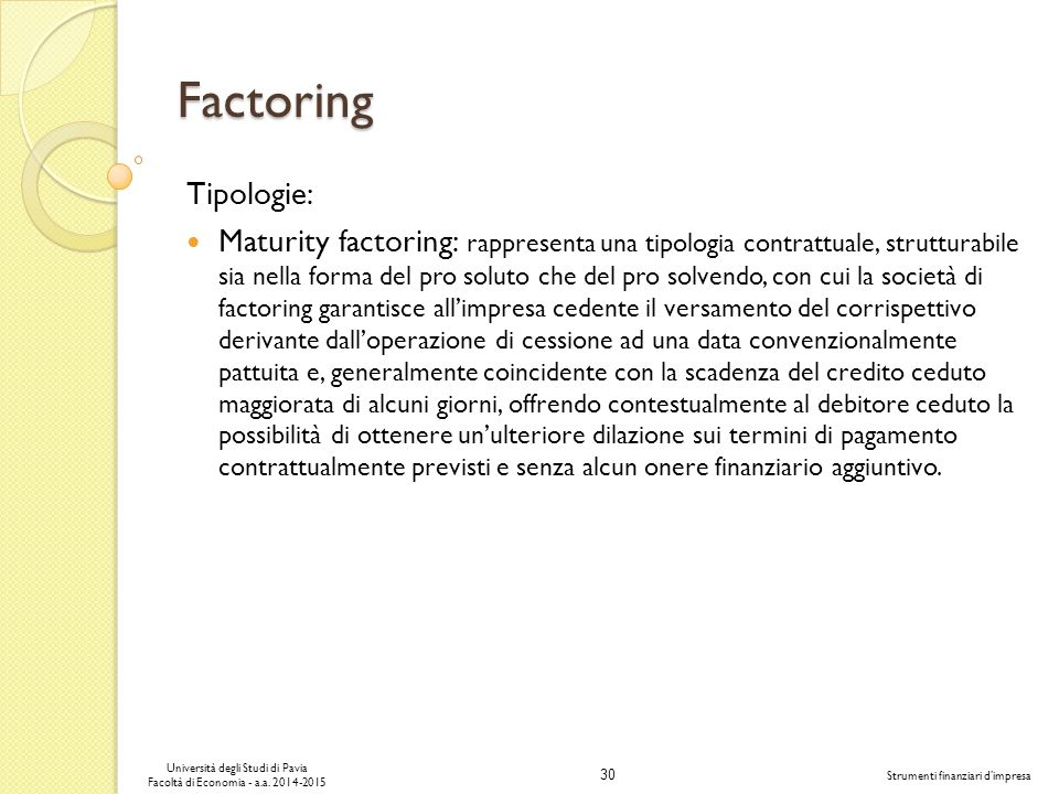 Factoring Tipologie: