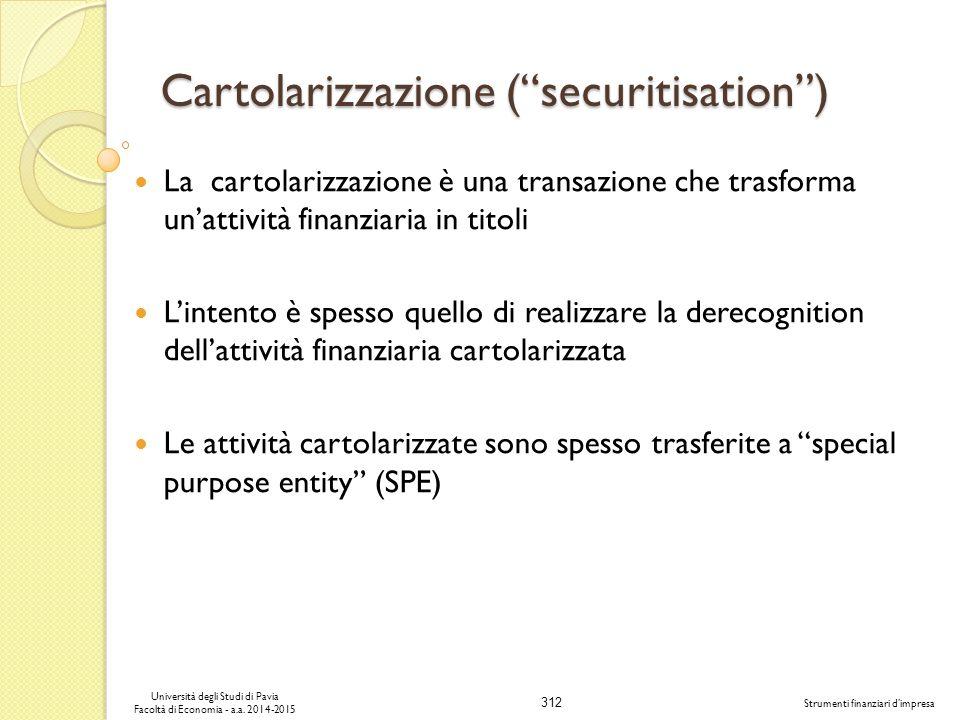 Cartolarizzazione ( securitisation )