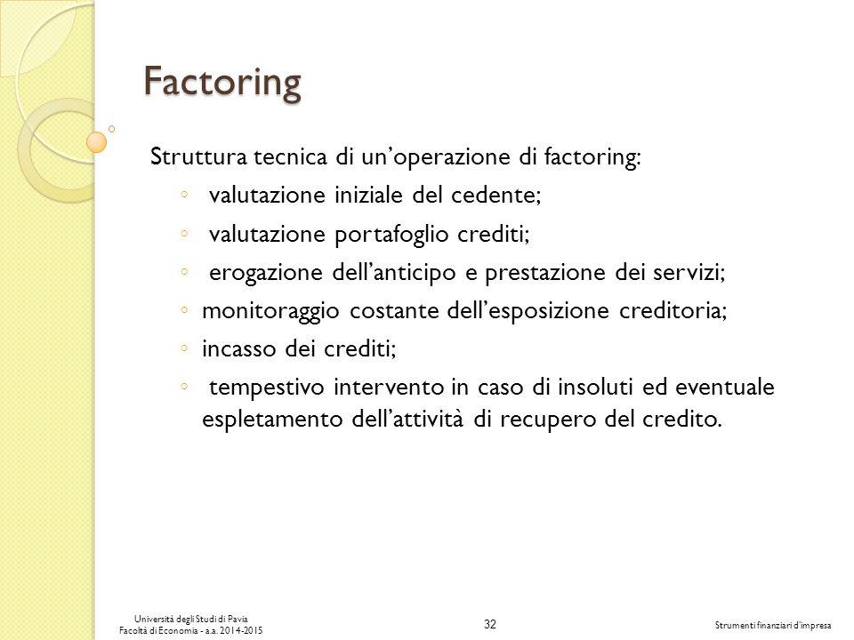 Factoring Struttura tecnica di un'operazione di factoring: