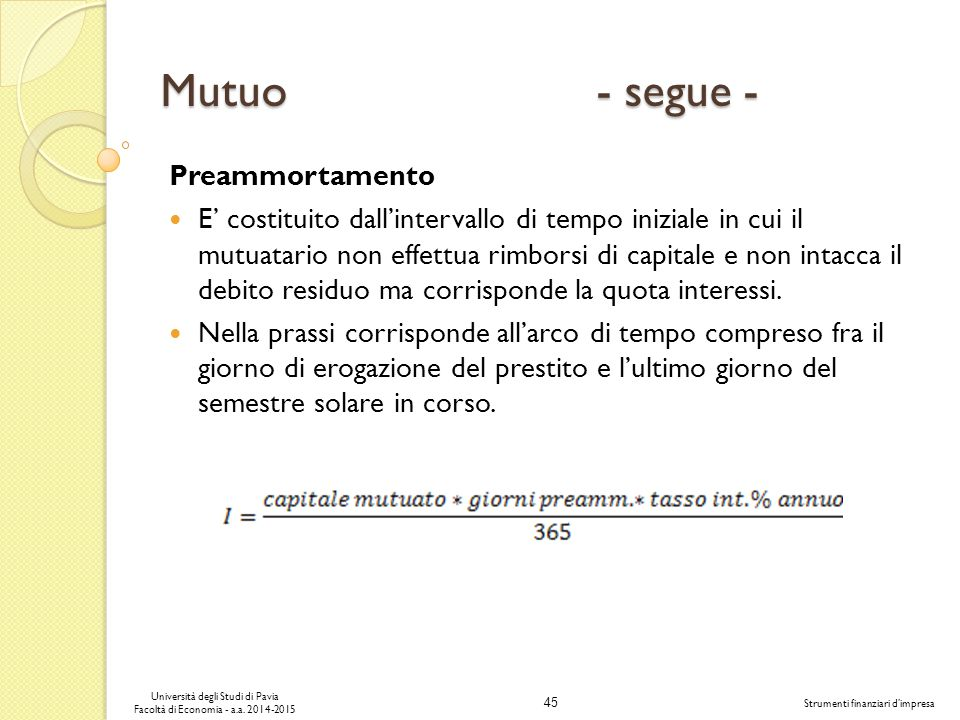 Mutuo - segue - Preammortamento