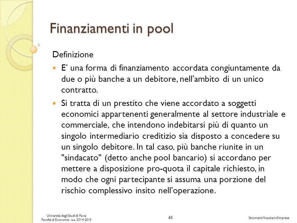 Finanziamenti in pool Definizione