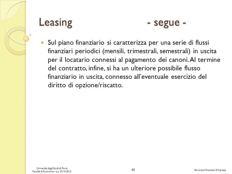Leasing - segue -