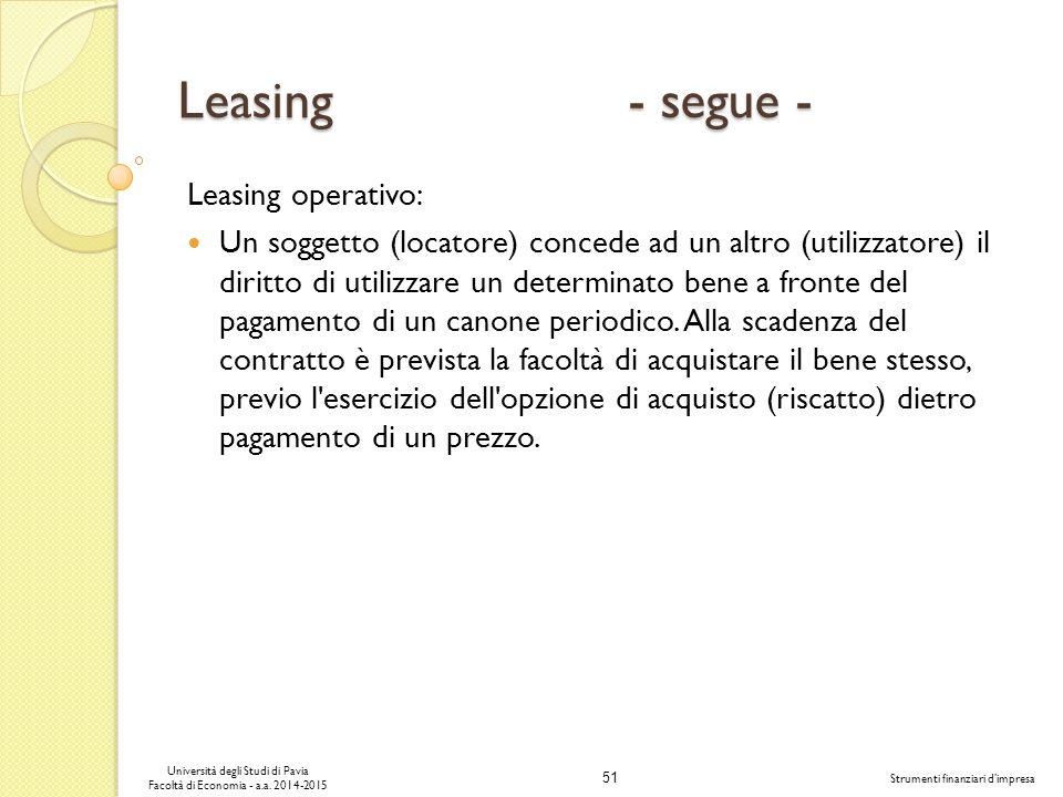 Leasing - segue - Leasing operativo: