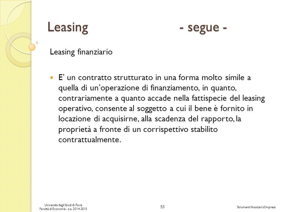 Leasing - segue - Leasing finanziario