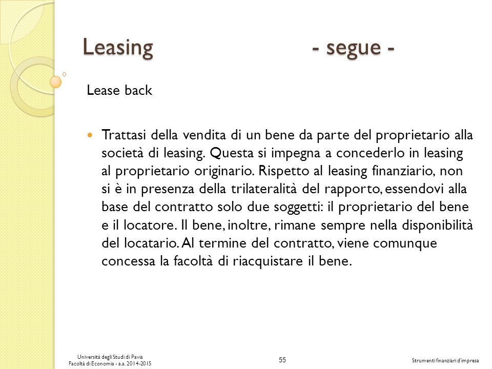 Leasing - segue - Lease back