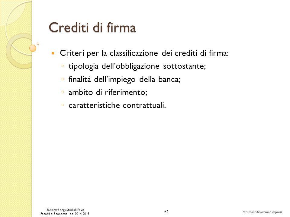 Crediti di firma Criteri per la classificazione dei crediti di firma: