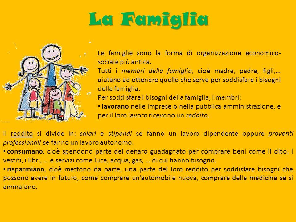 La Famiglia Le famiglie sono la forma di organizzazione economico-sociale più antica.