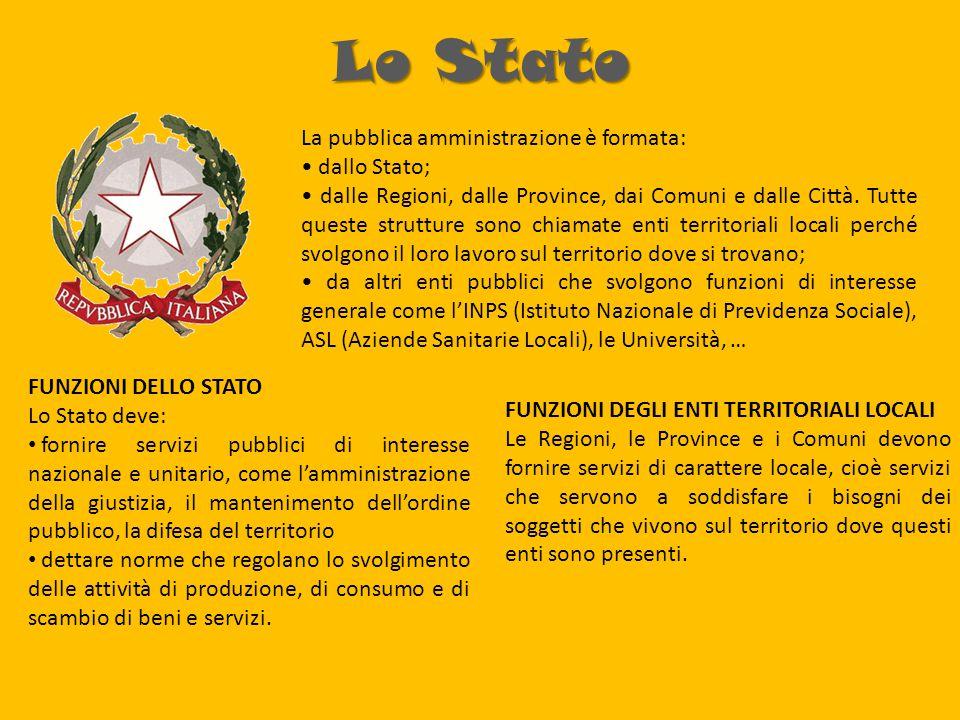 Lo Stato La pubblica amministrazione è formata: • dallo Stato;