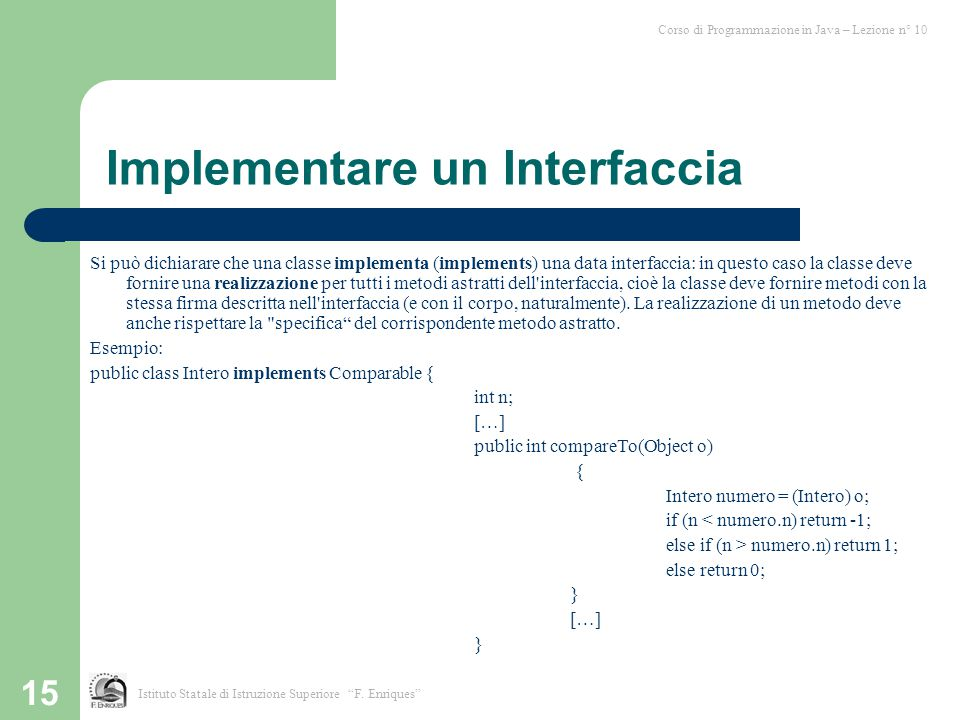 Implementare un Interfaccia