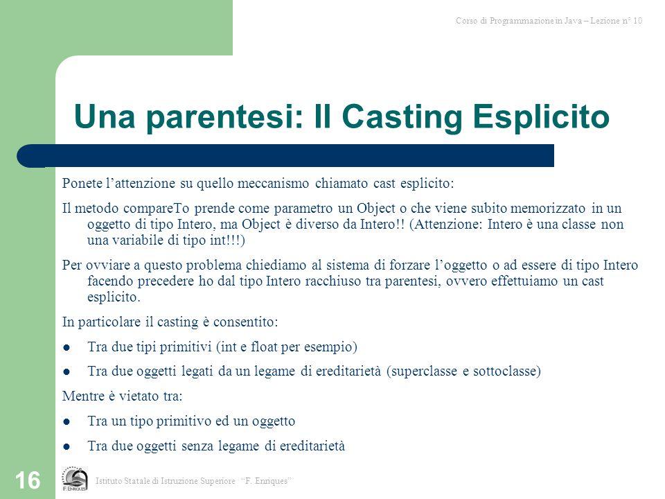 Una parentesi: Il Casting Esplicito