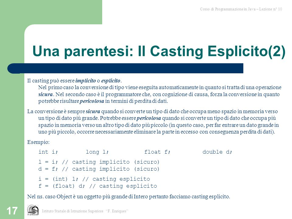 Una parentesi: Il Casting Esplicito(2)