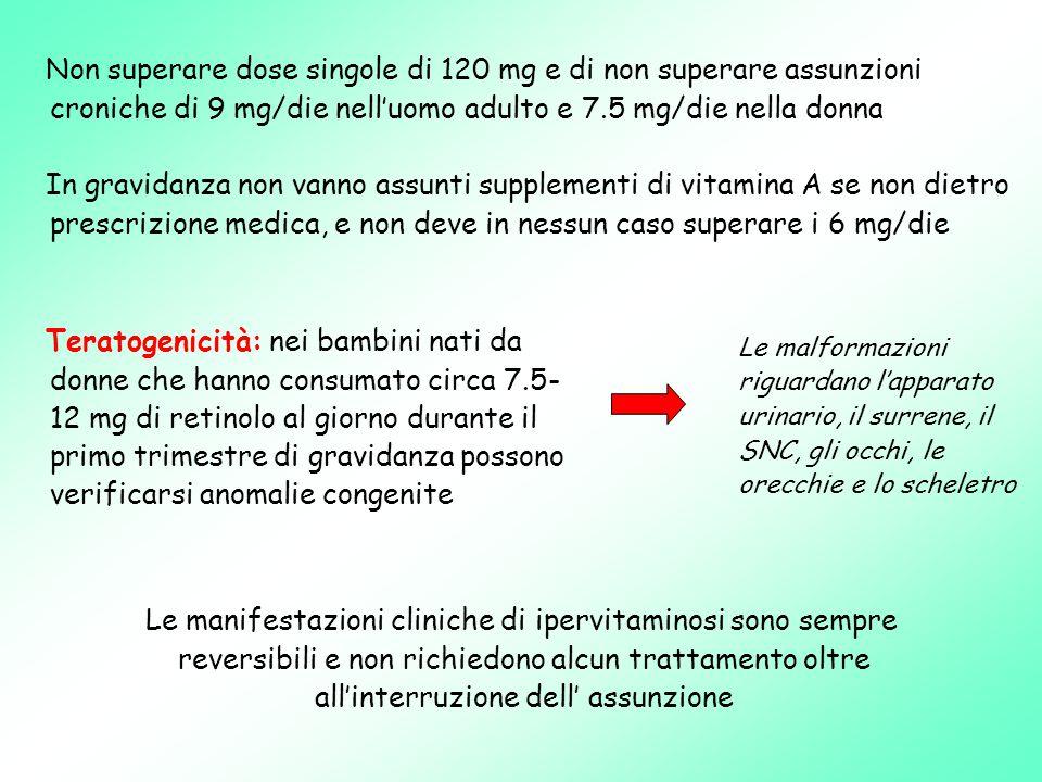 Non superare dose singole di 120 mg e di non superare assunzioni croniche di 9 mg/die nell'uomo adulto e 7.5 mg/die nella donna
