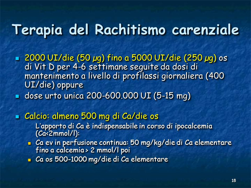 Terapia del Rachitismo carenziale