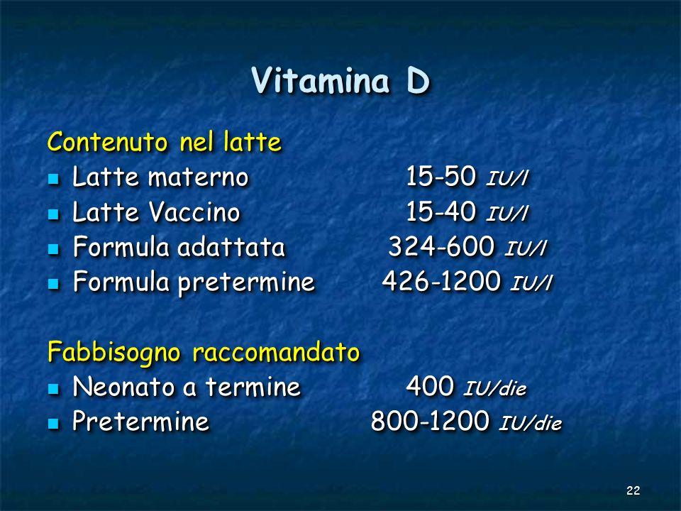 Vitamina D Contenuto nel latte Latte materno 15-50 IU/l
