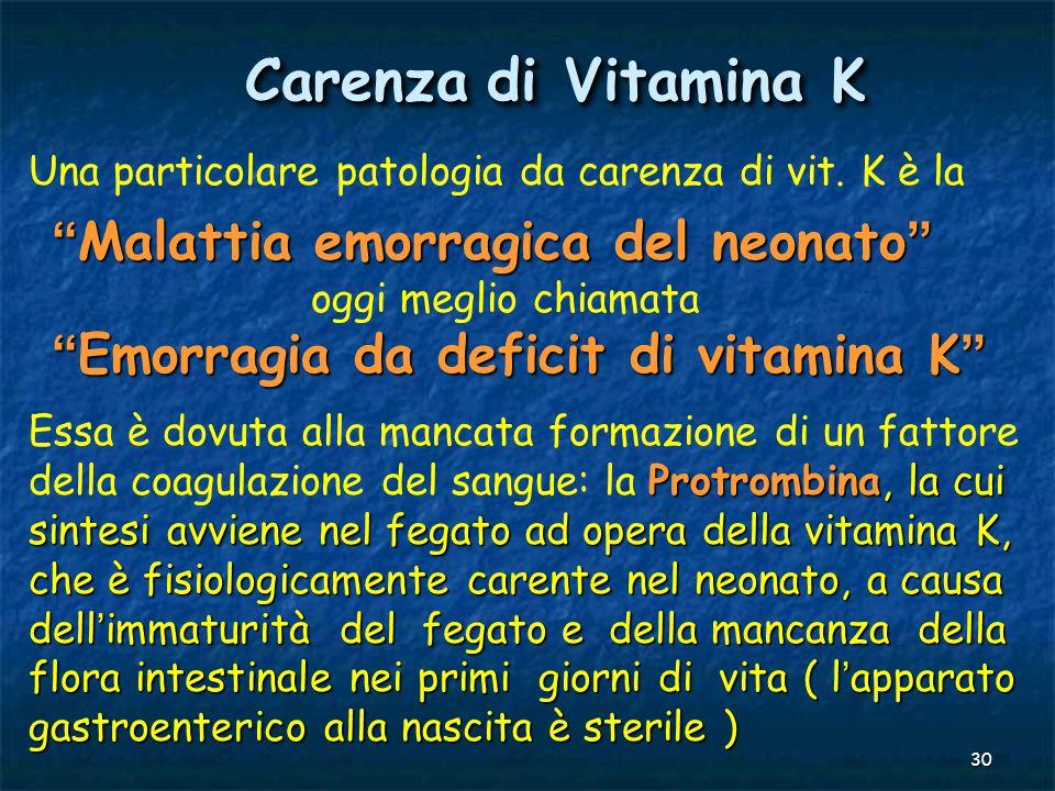 Carenza di Vitamina K Malattia emorragica del neonato