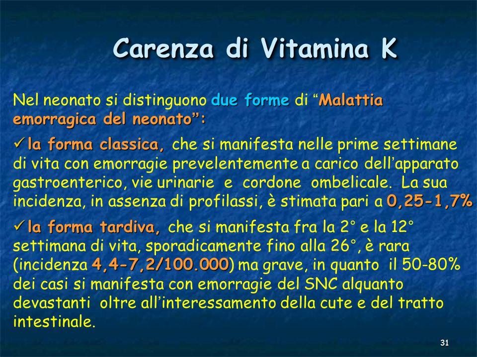Carenza di Vitamina K Nel neonato si distinguono due forme di Malattia emorragica del neonato :