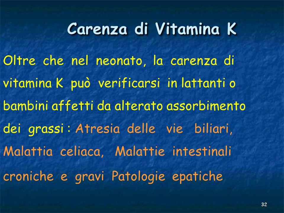 Carenza di Vitamina K Oltre che nel neonato, la carenza di