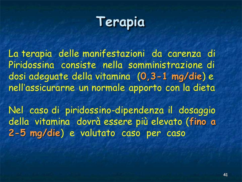 Terapia La terapia delle manifestazioni da carenza di Piridossina consiste nella somministrazione di.