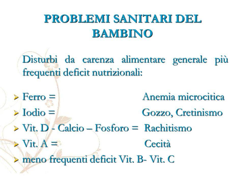 PROBLEMI SANITARI DEL BAMBINO