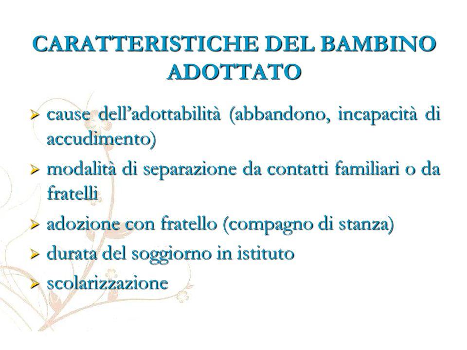 CARATTERISTICHE DEL BAMBINO ADOTTATO