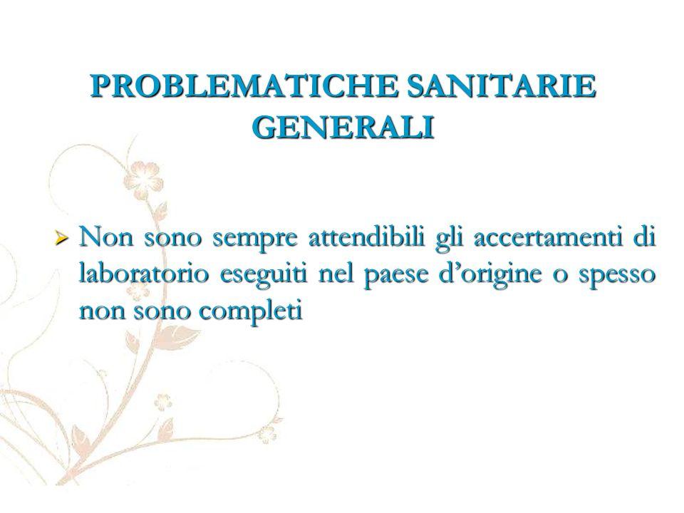PROBLEMATICHE SANITARIE GENERALI