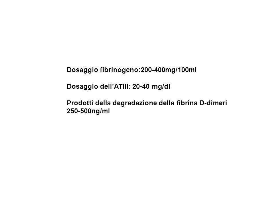 Dosaggio fibrinogeno:200-400mg/100ml