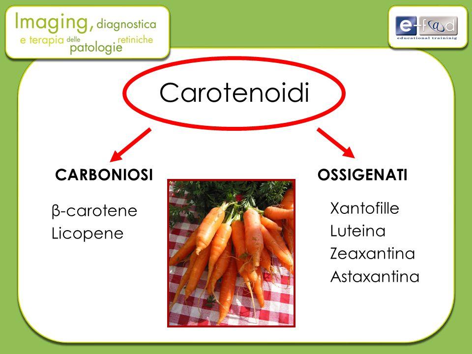 Carotenoidi CARBONIOSI OSSIGENATI β-carotene Licopene Xantofille