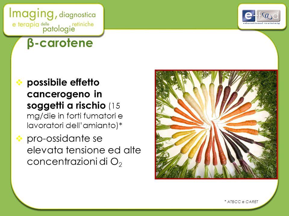 β-carotene possibile effetto cancerogeno in soggetti a rischio (15 mg/die in forti fumatori e lavoratori dell'amianto)*