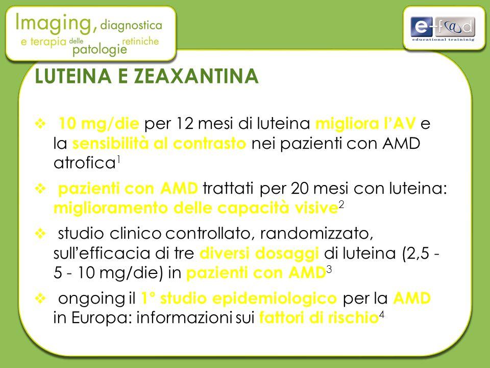 LUTEINA E ZEAXANTINA 10 mg/die per 12 mesi di luteina migliora l'AV e la sensibilità al contrasto nei pazienti con AMD atrofica1.