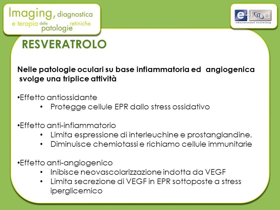 RESVERATROLO Nelle patologie oculari su base infiammatoria ed angiogenica. svolge una triplice attività.