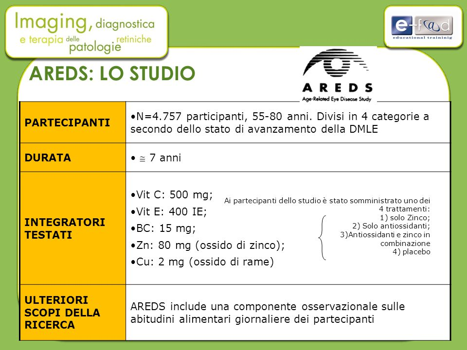 AREDS: LO STUDIO PARTECIPANTI