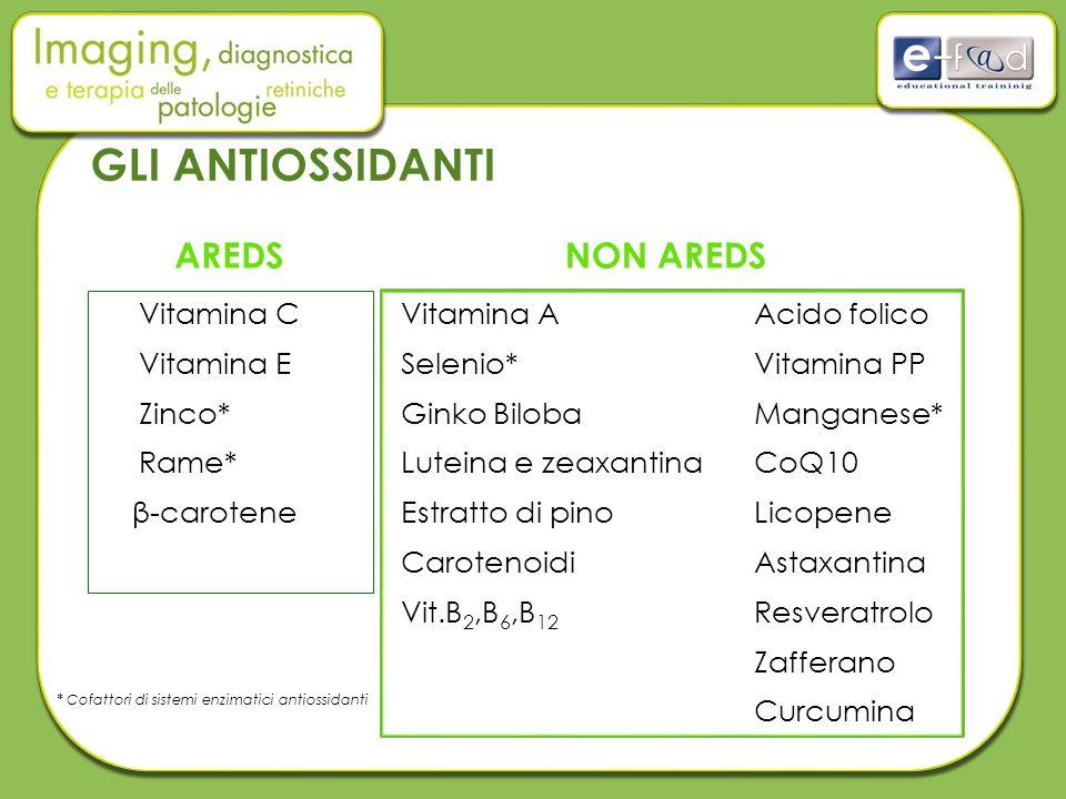 GLI ANTIOSSIDANTI AREDS NON AREDS Vitamina C Vitamina E Zinco* Rame*