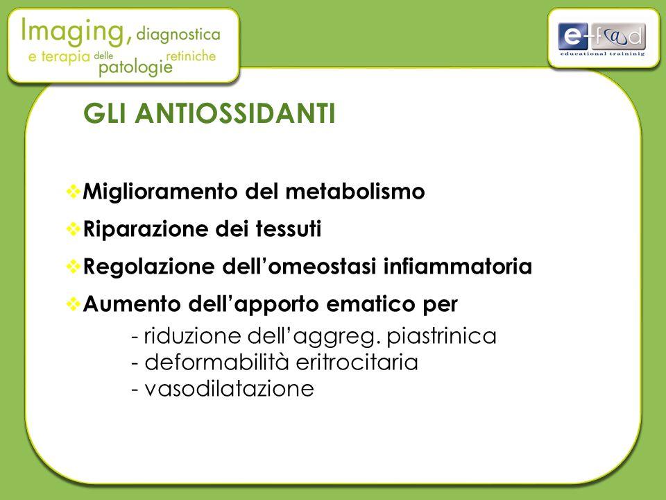 GLI ANTIOSSIDANTI Miglioramento del metabolismo