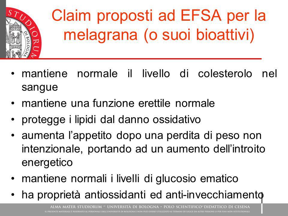 Claim proposti ad EFSA per la melagrana (o suoi bioattivi)
