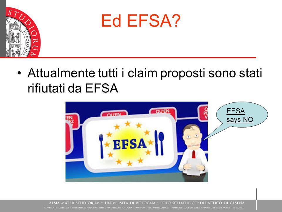 Ed EFSA Attualmente tutti i claim proposti sono stati rifiutati da EFSA EFSA says NO