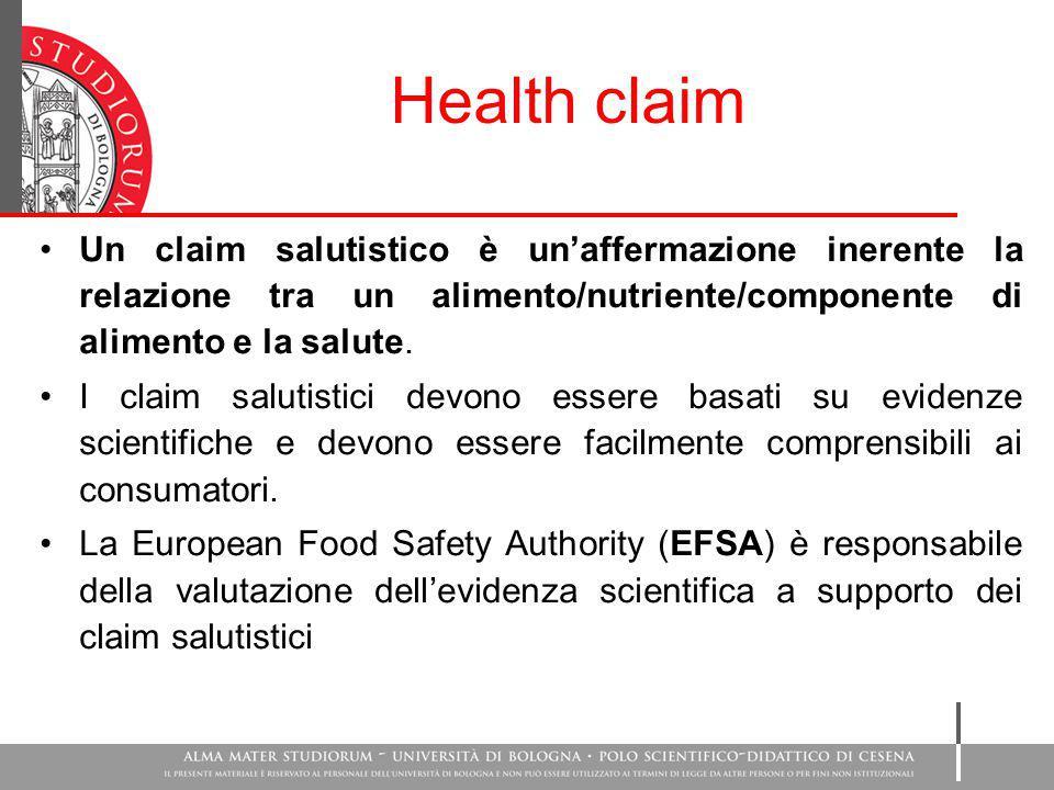 Health claim Un claim salutistico è un'affermazione inerente la relazione tra un alimento/nutriente/componente di alimento e la salute.