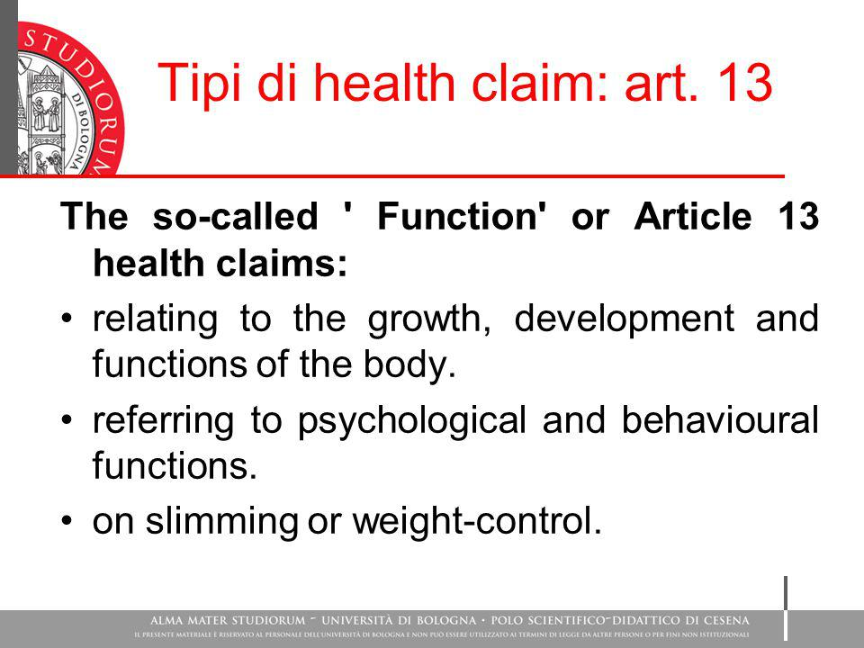 Tipi di health claim: art. 13