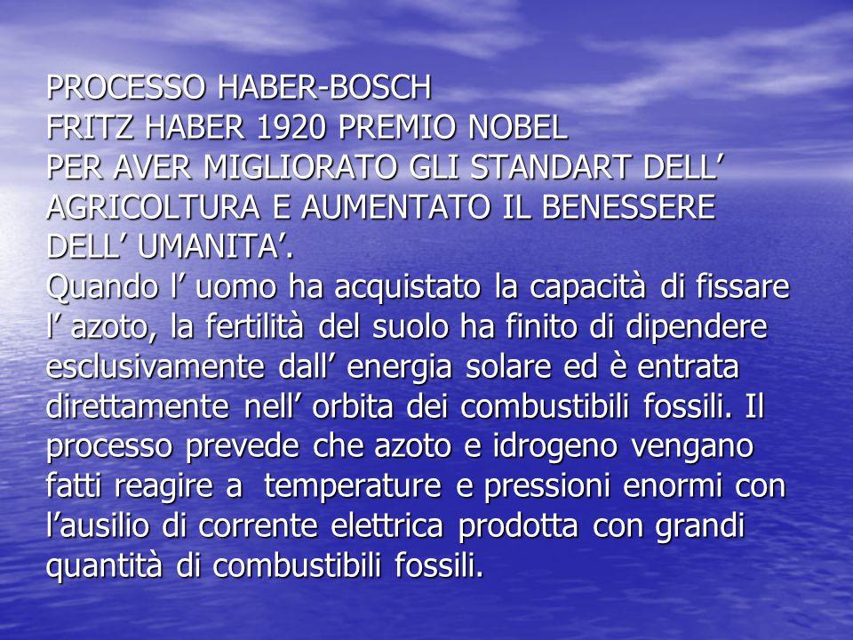 PROCESSO HABER-BOSCH FRITZ HABER 1920 PREMIO NOBEL PER AVER MIGLIORATO GLI STANDART DELL' AGRICOLTURA E AUMENTATO IL BENESSERE DELL' UMANITA'. Quando l' uomo ha acquistato la capacità di fissare l' azoto, la fertilità del suolo ha finito di dipendere esclusivamente dall' energia solare ed è entrata direttamente nell' orbita dei combustibili fossili. Il processo prevede che azoto e idrogeno vengano fatti reagire a temperature e pressioni enormi con l'ausilio di corrente elettrica prodotta con grandi quantità di combustibili fossili.