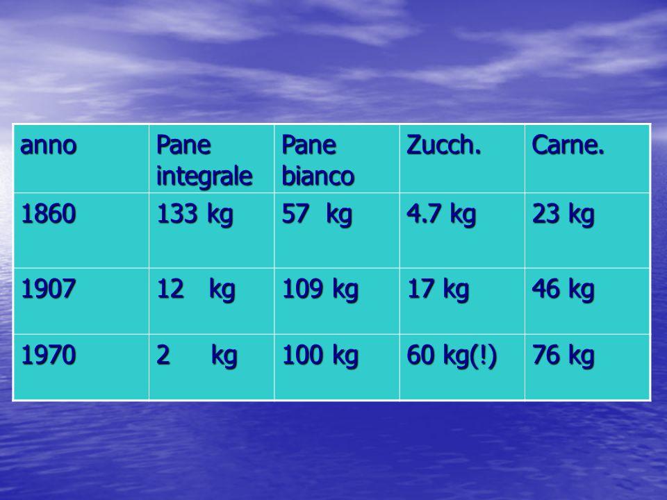 anno Pane integrale. Pane bianco. Zucch. Carne. 1860. 133 kg. 57 kg. 4.7 kg. 23 kg. 1907.